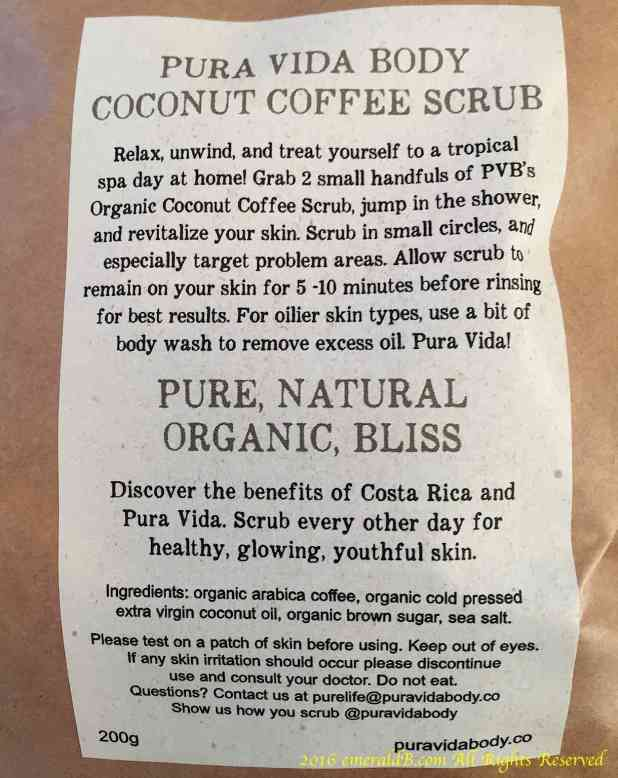 Pura Vida Body Scrub Label